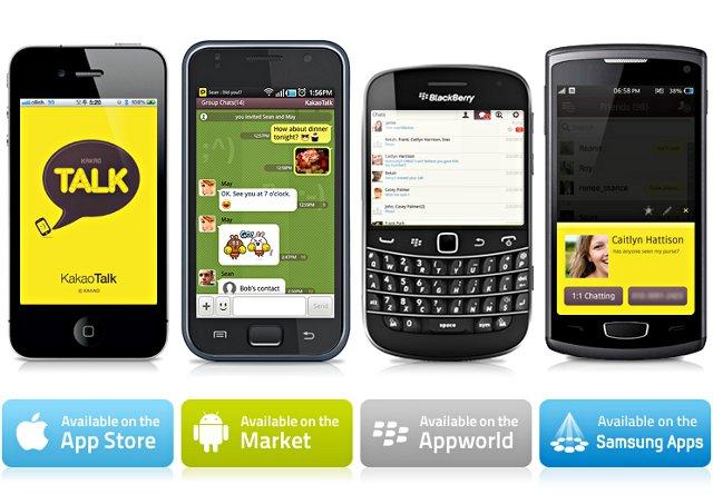 Smartphones with KakaoTalk App